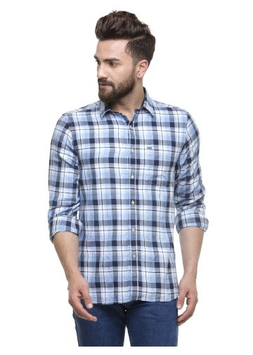 SANSKAR MENSWEAR CASUAL SHIRT NAVY /BLUE