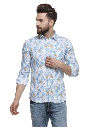 SANSKAR MENSWEAR CASUAL SHIRT BLUE & YELLOW AOP