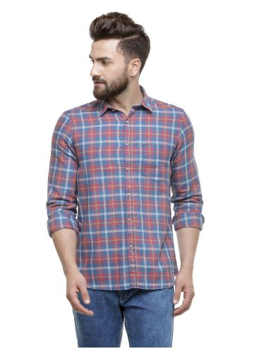 SANSKAR MENSWEAR CASUAL SHIRT RED INDIGO CHECK