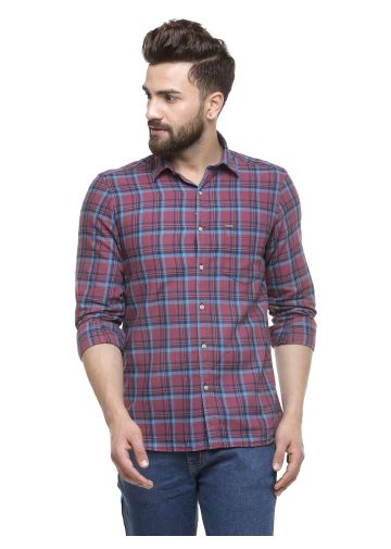 SANSKAR MENSWEAR CASUAL SHIRT BROWN BLUE INDIGO CHECK