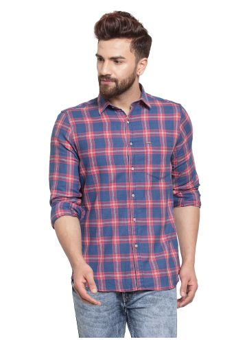SANSKAR MENSWEAR CASUAL SHIRT RUST INDIGO CHECK