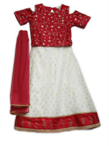 AASTHA KIDSWEAR LEHENGA-CHOLI MAHROON- OFF WHITE