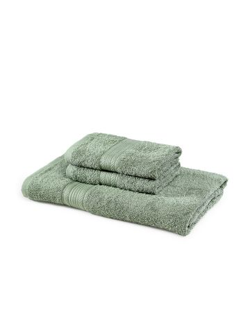 AASTHA HOME 1 BATH & 2 HAND TOWEL OLIVE GREEN (SET OF 3)