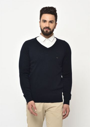 SANSKAR MEN NAVY KNIT WINTER WEAR SWEATER