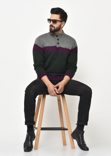 SANSKAR MEN OLIVE KNIT WINTER WEAR SWEATER