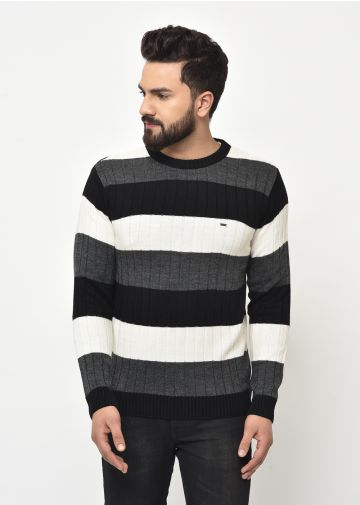 SANSKAR MEN BLACK KNIT WINTER WEAR SWEATER