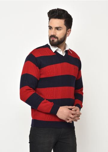 SANSKAR MEN RED-NAVY KNIT WINTER WEAR SWEATER